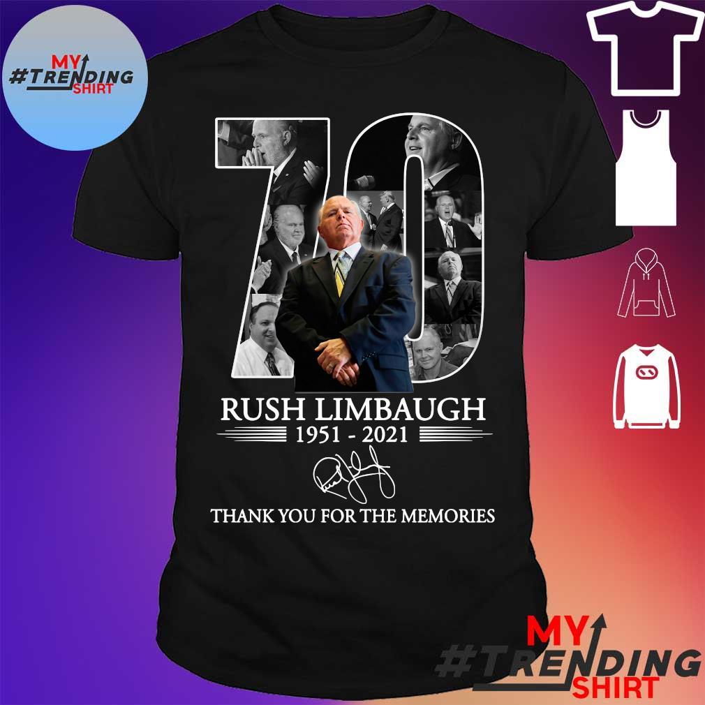 70 Rush Limbaugh 1951-2021 thank you for the memories shirt