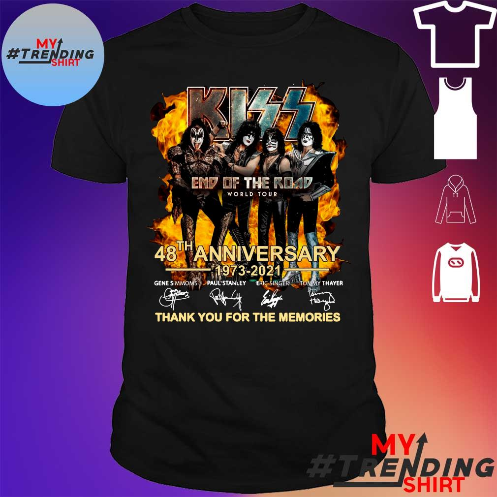 Kiss End of the Road world tour 48th Anniversary 1973-2021 signature shirt