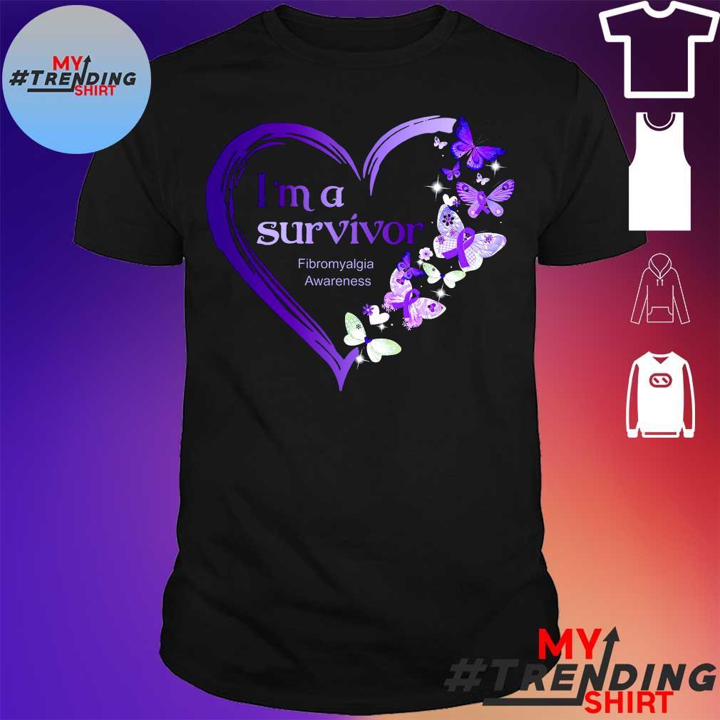 Butterflies I'm a survivor fibromyalgia awareness heart shirt