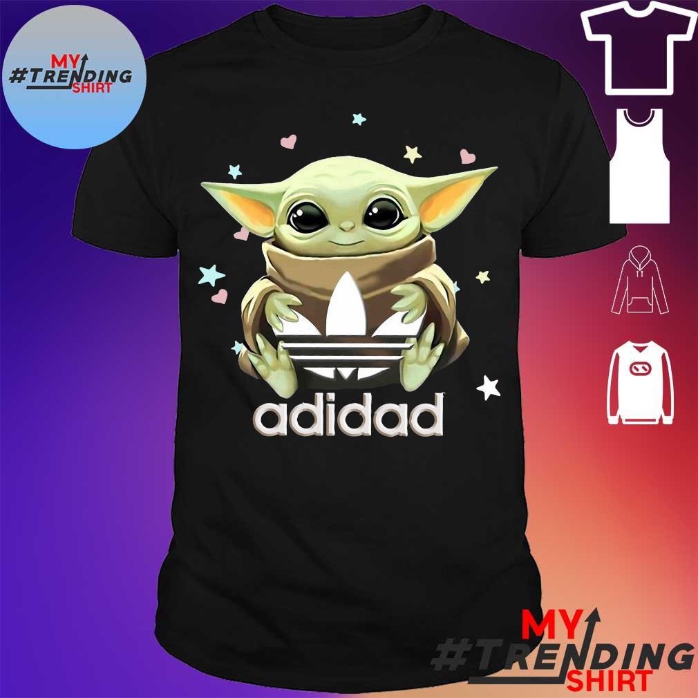 Funny Baby Yoda hug Adidas shirt
