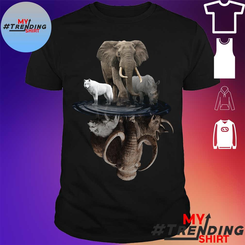 Wolf elephant and Rhino water reflection shirt