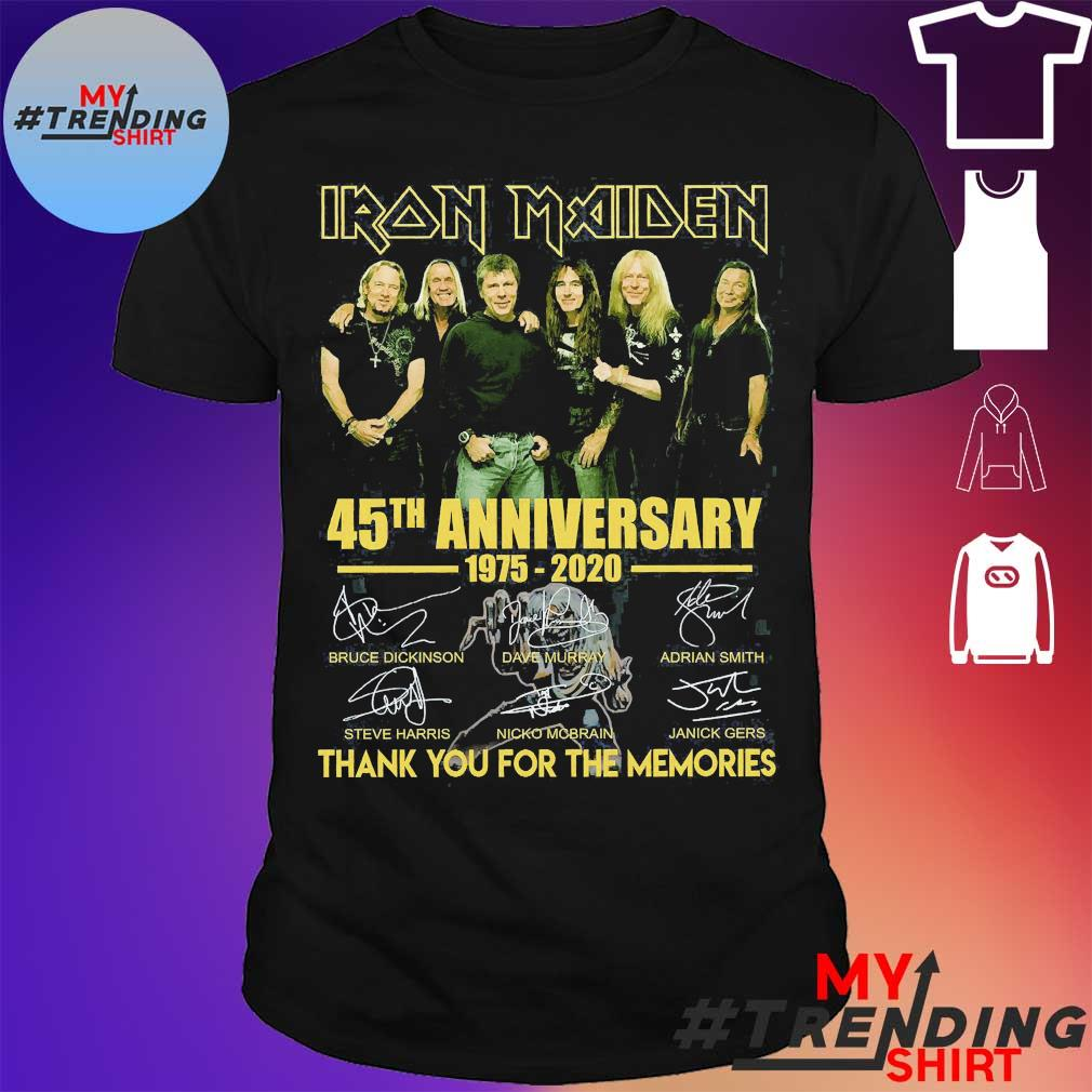 Iron Maiden 45th anniversary 1975 2020 thank You for the memories signatures shirt