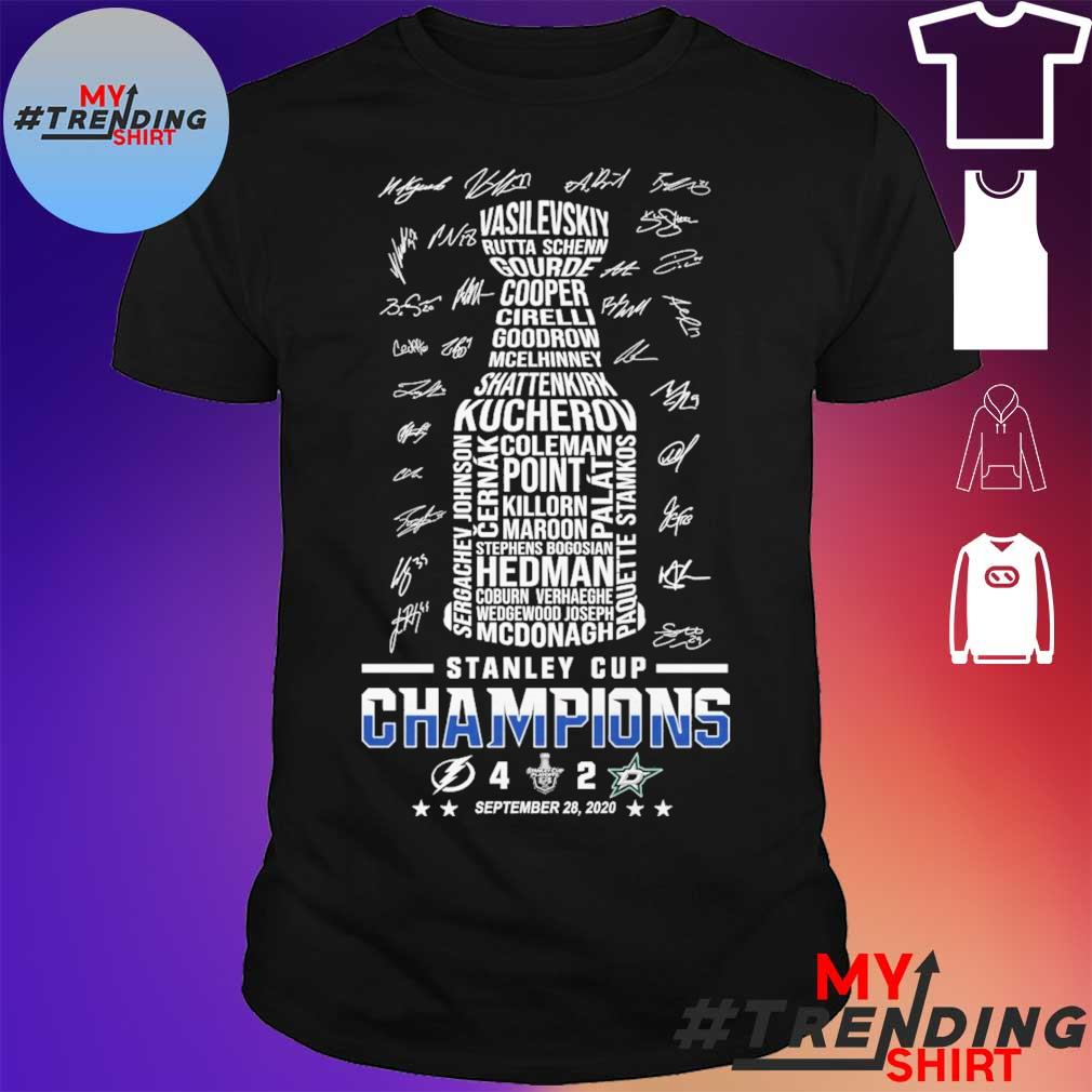 Stanley cup Champions 4 2 September 28 2020 signatures shirt