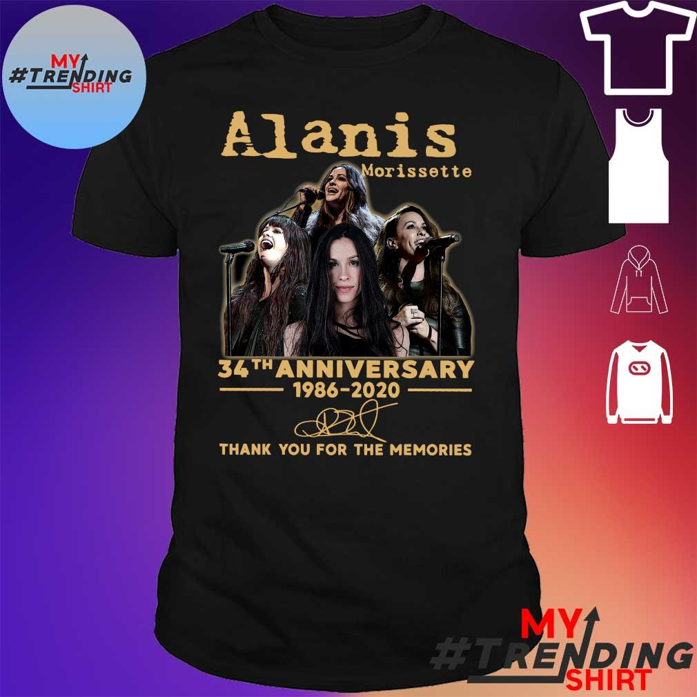 Alanis morissette 34th anniversary 1986-2020 thank you for the memories shirt