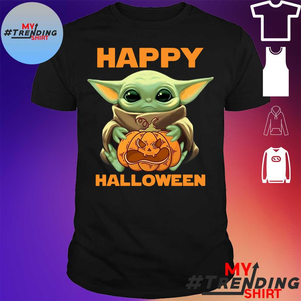 Baby Yoda Hug Pumpkin Happy Halloween Shirt