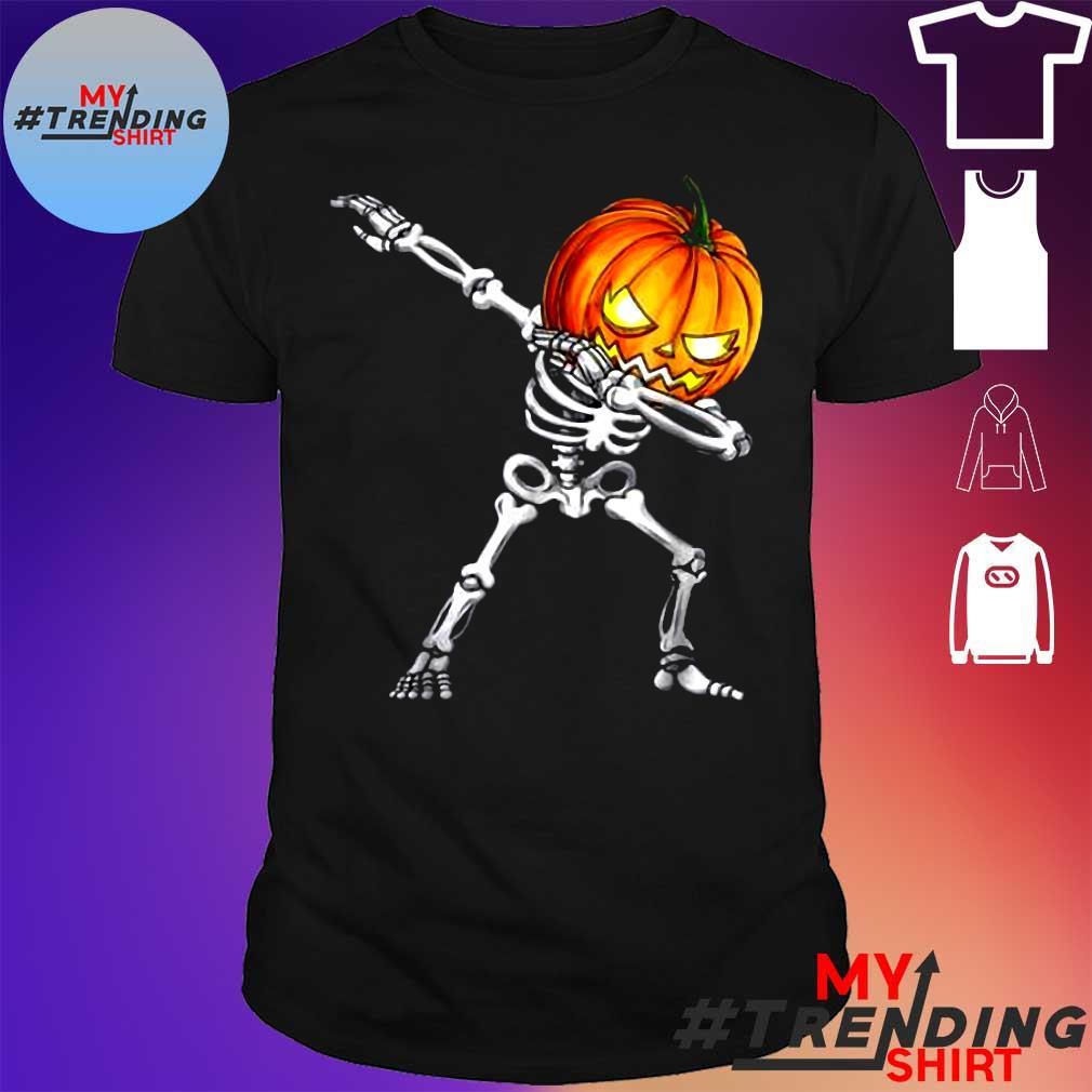 Funny Halloween Dabs For Boys Kids Dabbing Skeleton Pumpkin shirt