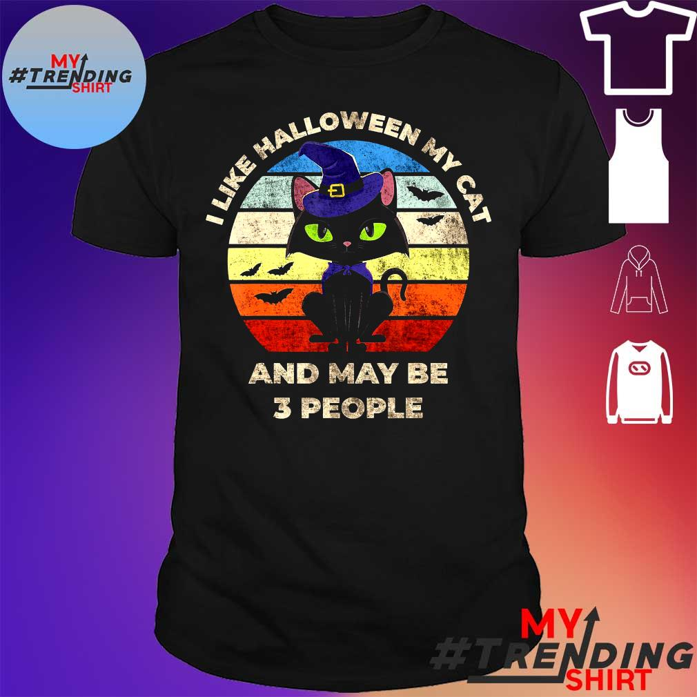 I LIKE HALLOWEEN MY CAT AND MAY BE 3 PEOPLE SHIRT
