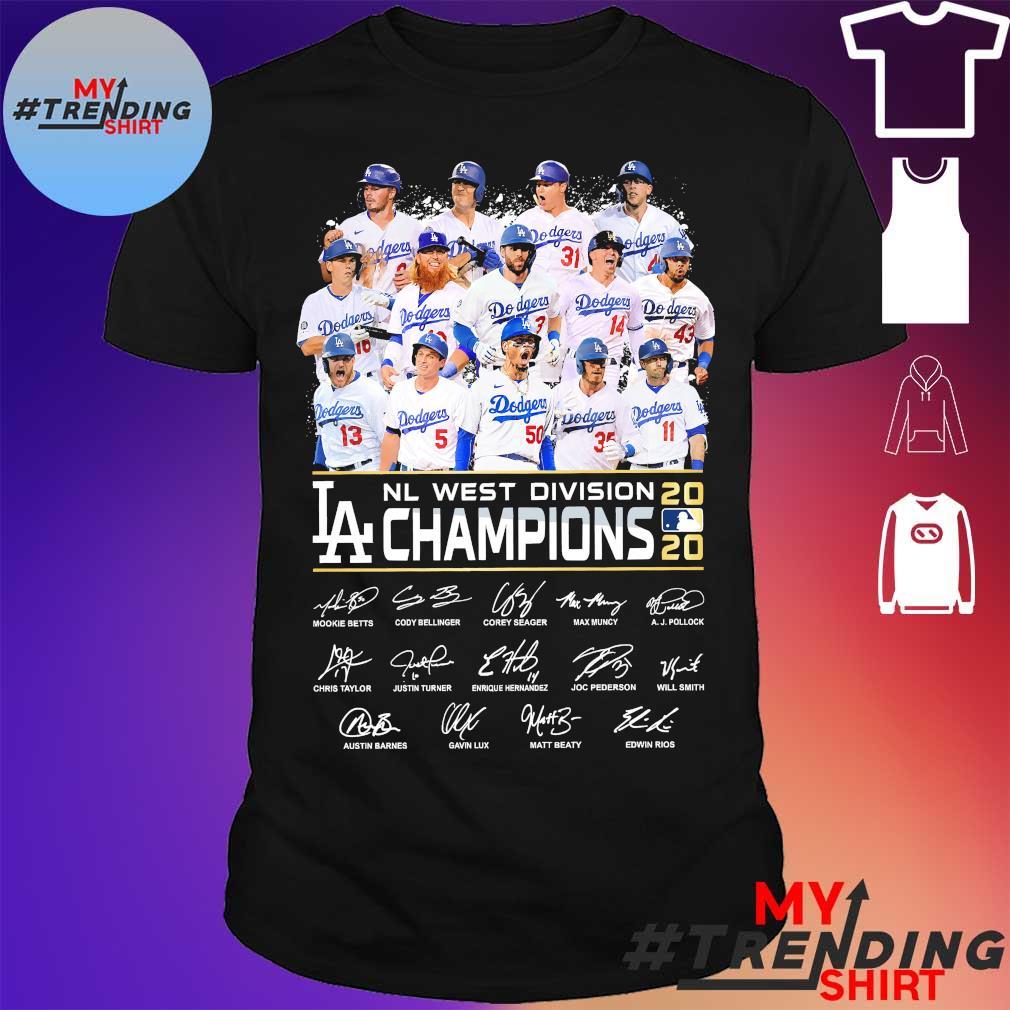 Los Angeles Dodgers Nl west division champions 2020 signatures shirt