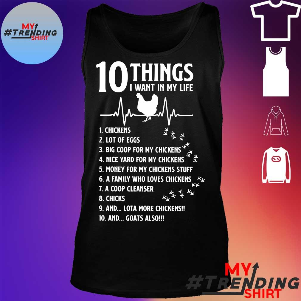 10 things I want in my life chickens s tank top