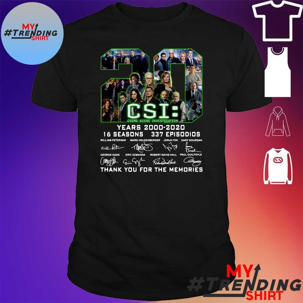 20 csi years 2000 2020 16 seasons 337 episodios thank you for the memories shirt