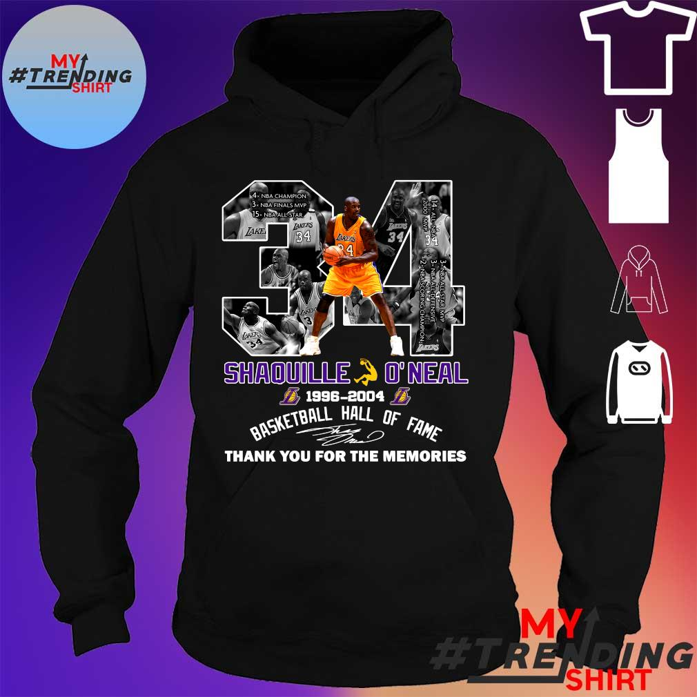 34 shaquille o'neal 1996-2004 basketball hall of fame thank you for the memories s hoodie