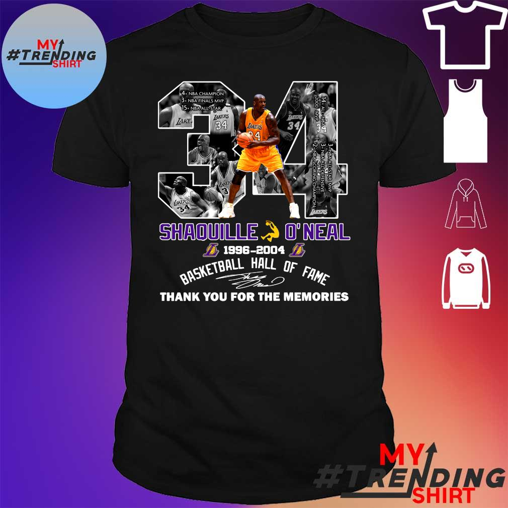 34 shaquille o'neal 1996-2004 basketball hall of fame thank you for the memories shirt
