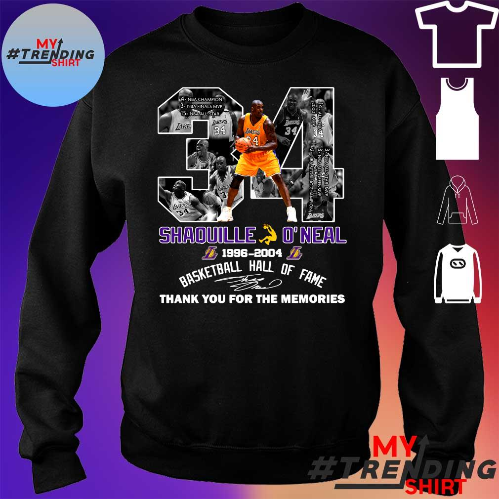 34 shaquille o'neal 1996-2004 basketball hall of fame thank you for the memories s sweater