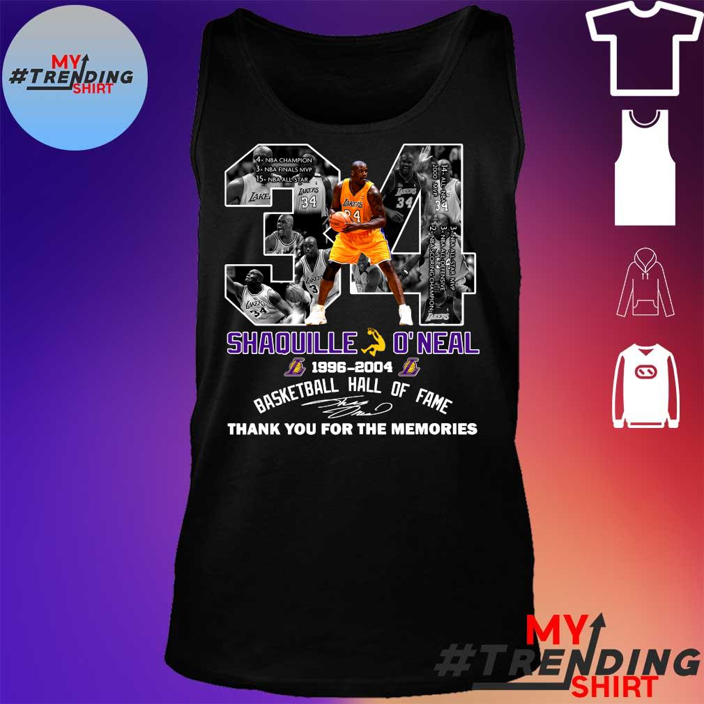 34 shaquille o'neal 1996-2004 basketball hall of fame thank you for the memories s tank top