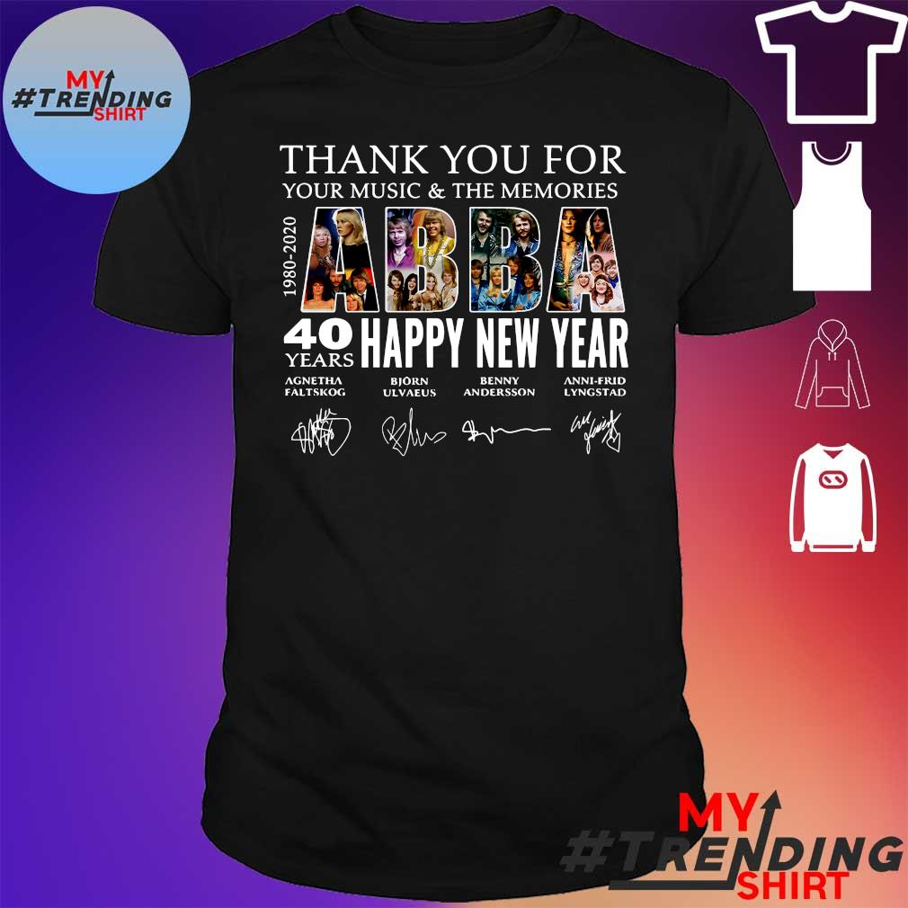 Abba Happy New Year 40 years 1980 2020 thank you for your Music and the memories signatures shirt