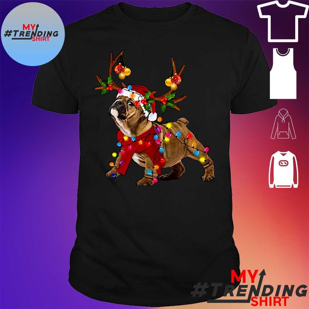 Bulldog Reindeer Santa Christmas shirt