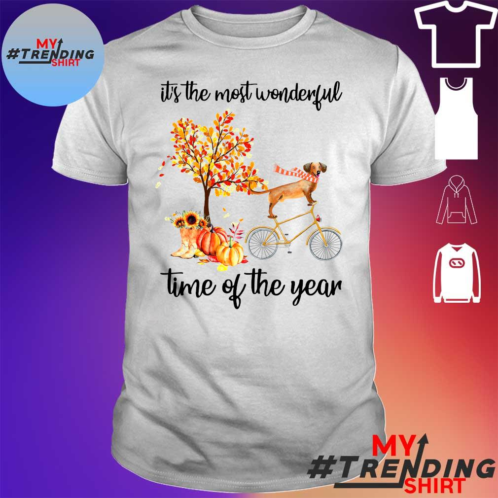 Dog riding bicycle bus it's the most wonderful time of the year leaves tree shirt