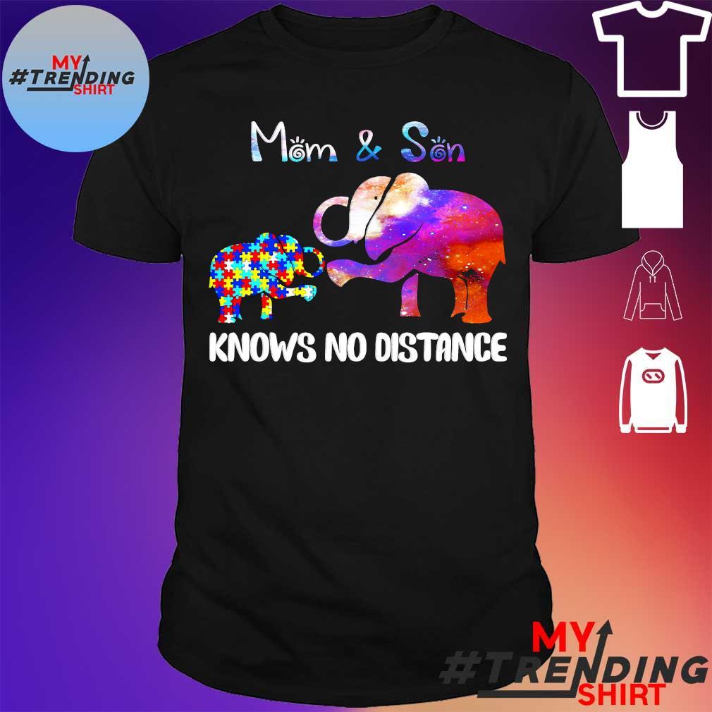 Elephant autism mom & son knows no distance shirt